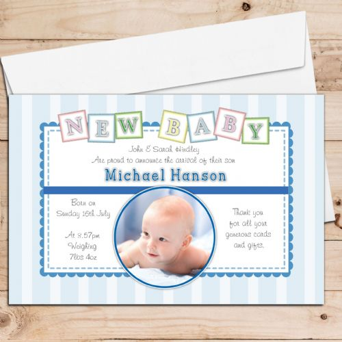 10 Personalised Baby Boy Birth Announcement Thank You PHOTO cards N112